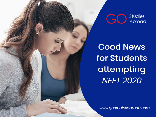 A Major Relief  and Good News for Students attempting NEET 2020